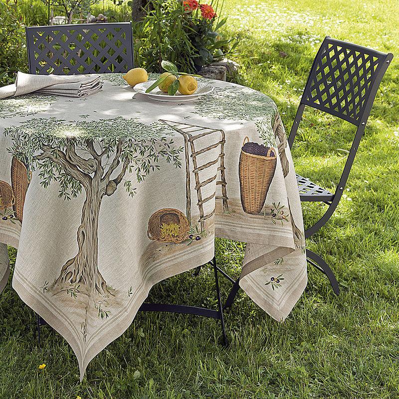 tischdecken mediterrane leinen tischw sche mit kunstvoll. Black Bedroom Furniture Sets. Home Design Ideas