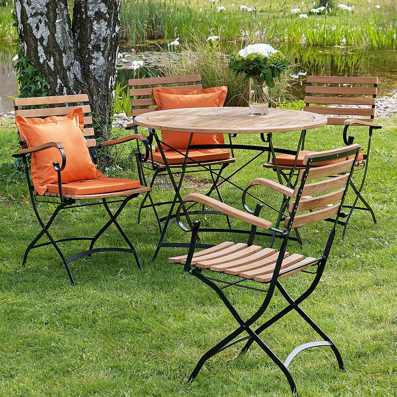 Gartentisch Set Mit 4 Stühlen Gartenklassiker Aus Teak